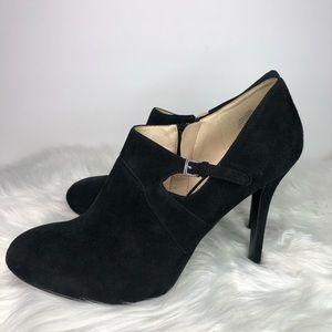 NINE WEST MARIELLE Black Suede Buckle Heels